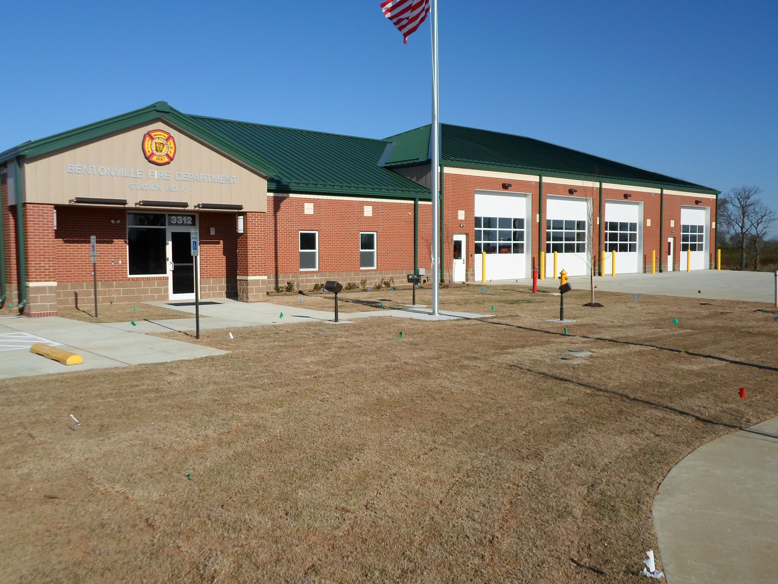 Station 6 with lawn and four bays
