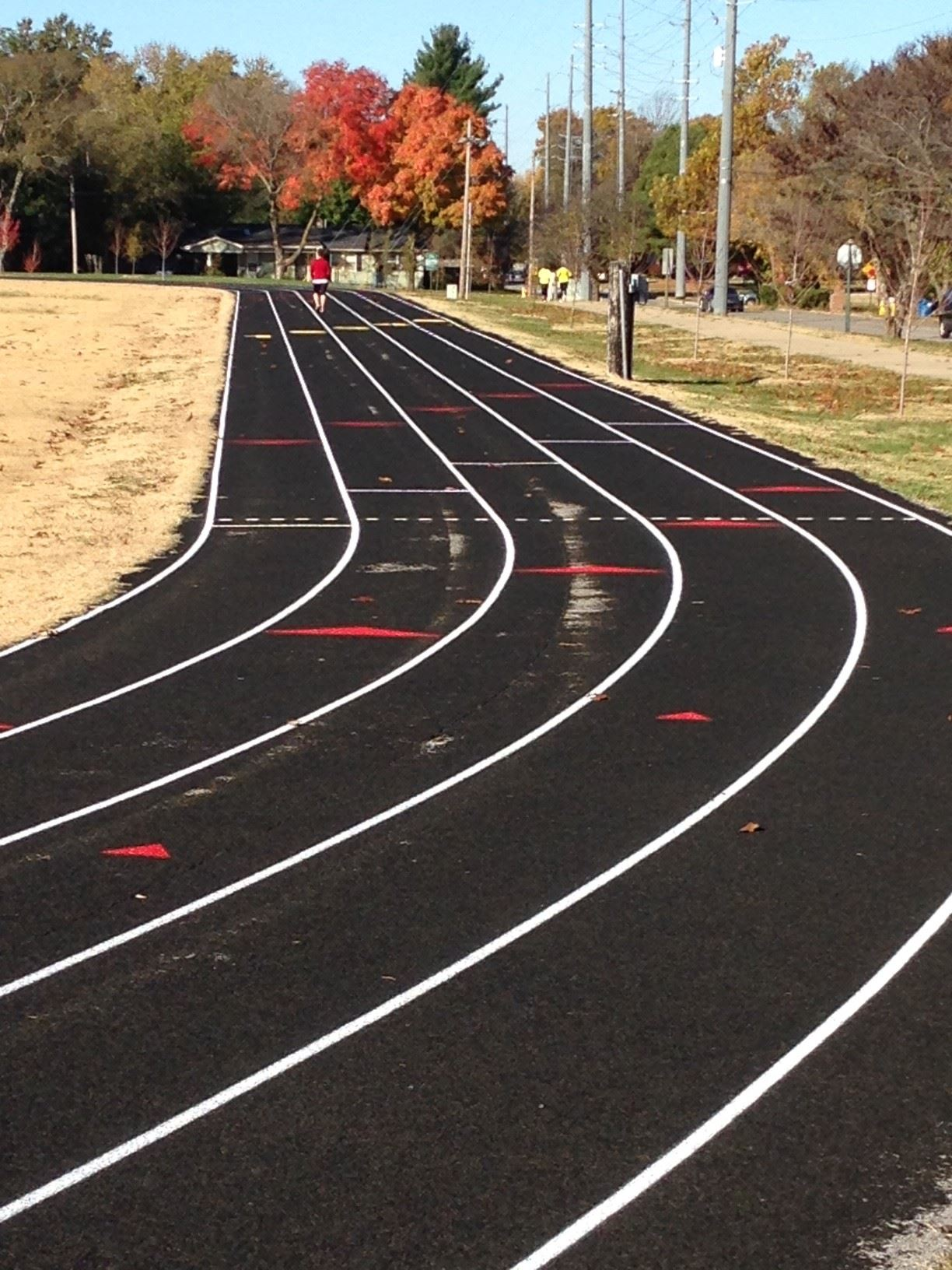 Old Tiger Stadium Image of track with one runner